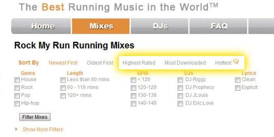 running music sort options