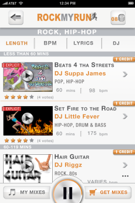 Rock My Run iPhone App - Get Mixes
