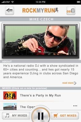 Rock My Run iPhone App - DJ Details screen